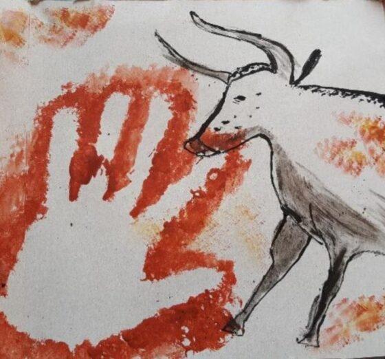 Dessin avec main et antilope