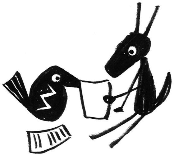 Zeichnung mit Vogel und Esel